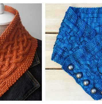 Celtic Cable Button Cowl Free Knitting Pattern