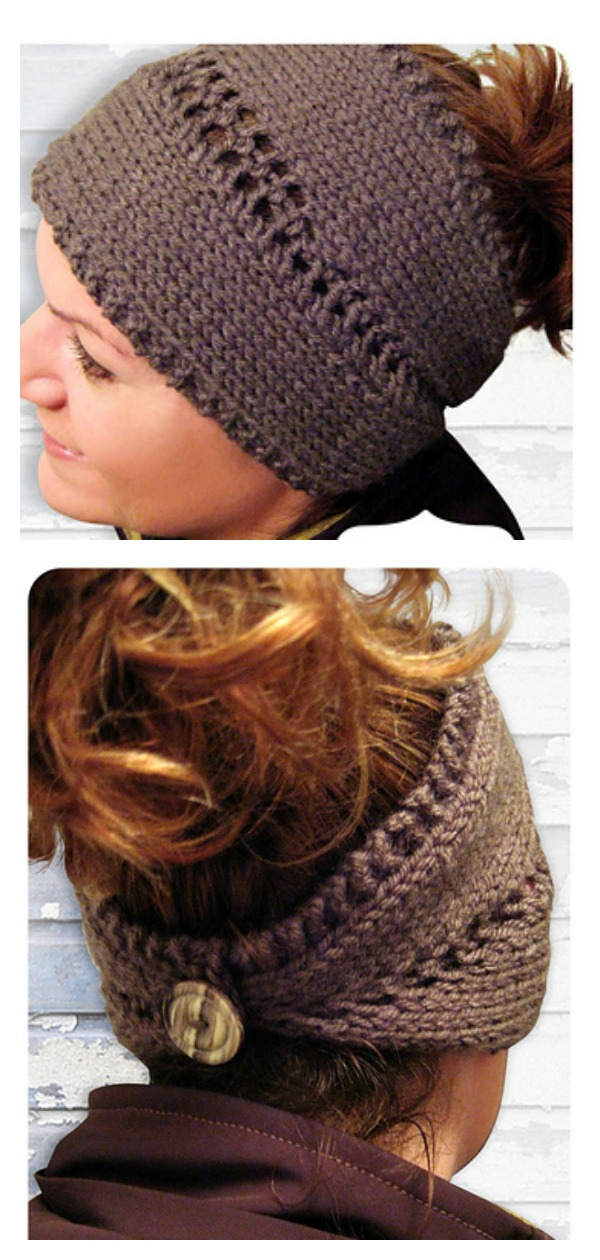 Convertible Center Row Lace Headband or Neck Warmer Free Knitting Pattern