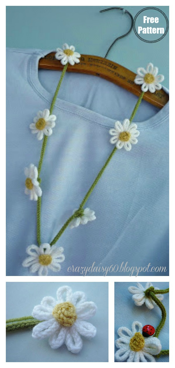 Daisy Flower Chain Necklace Free Knitting Pattern