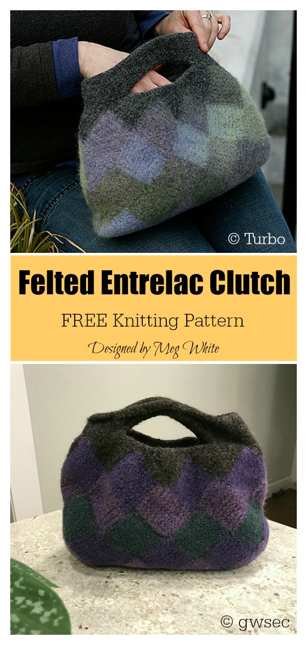 Felted Entrelac Clutch Bag Free Knitting Pattern