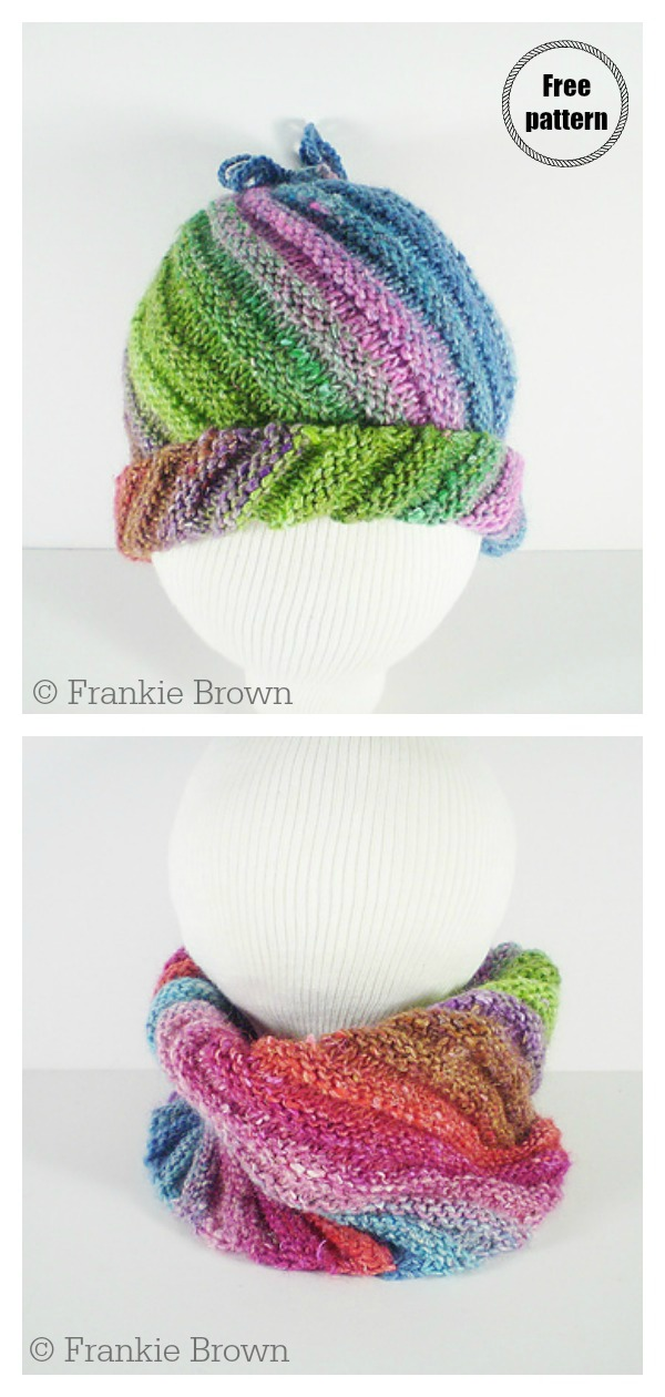 Flat Knit Swirl Emergency Hat Free Knitting Pattern