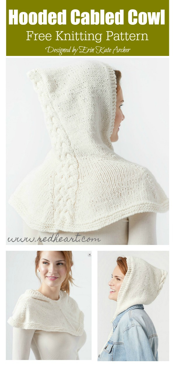 Hooded Cabled Cowl Free Knitting Pattern