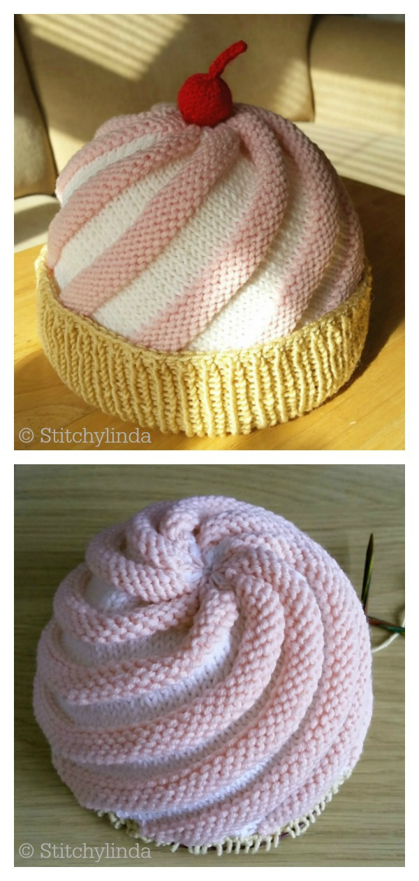 Ice Cream Sundae Cupcake Baby Hat Free Knitting Pattern
