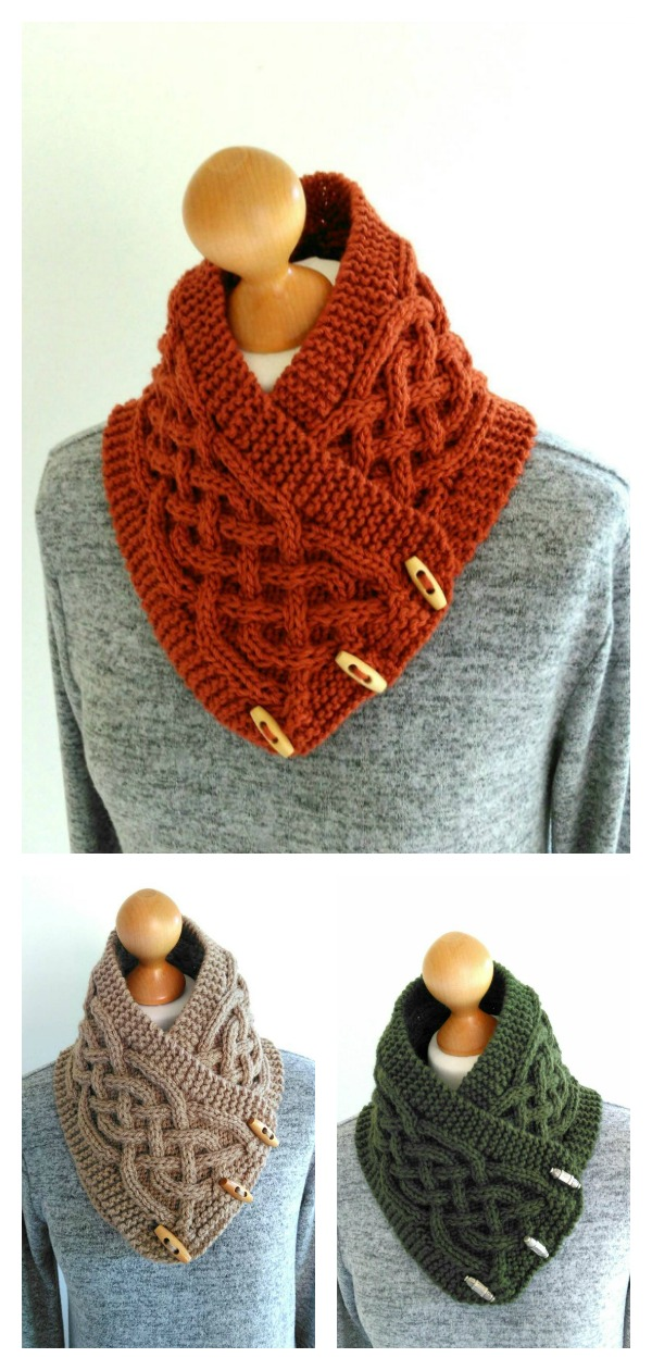 Knitted Celtic Cable Button Cowl