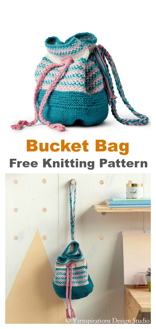 Linen Stitch Bucket Bag Free Knitting Pattern