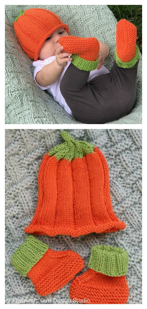 Pumpkin Hat & Booties Free Knitting Pattern