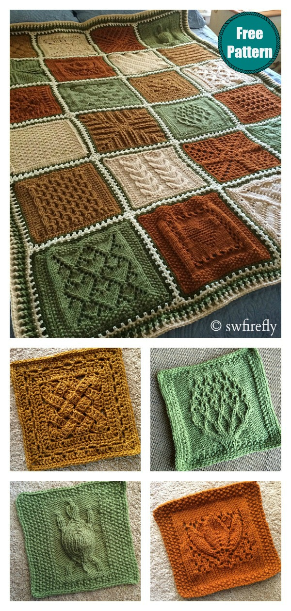 Dishcloth Sampler Afghan Blanket Free Knitting Pattern