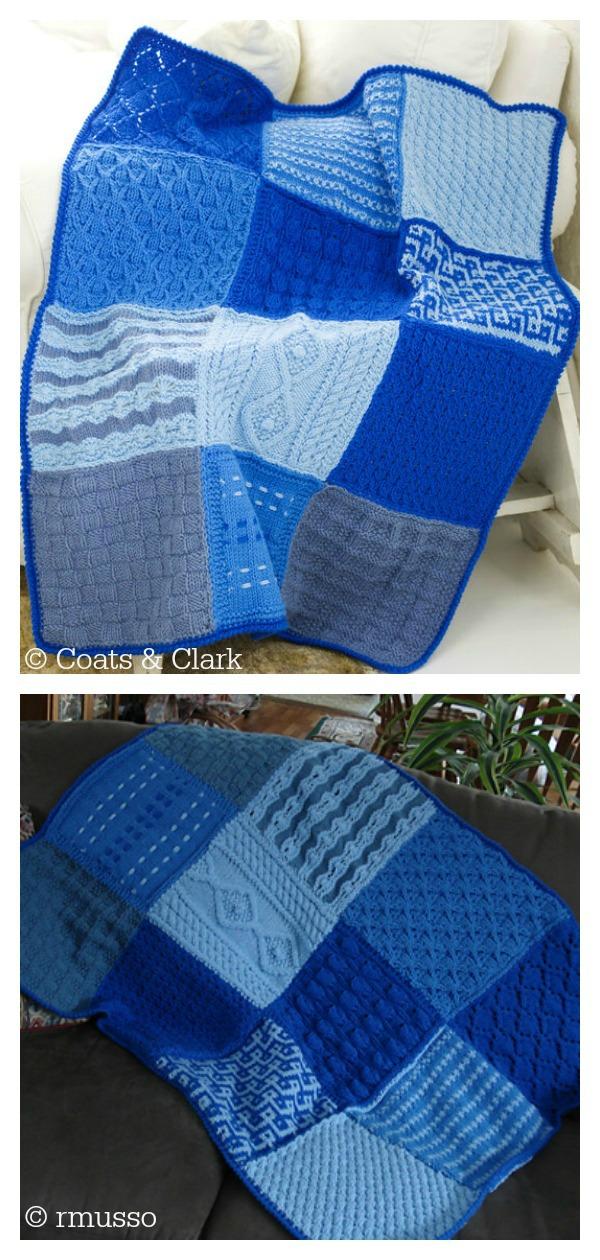 Sampler Afghan Blanket Free Knitting Pattern