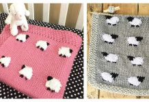 Sheep Baby Blanket Free Knitting Pattern