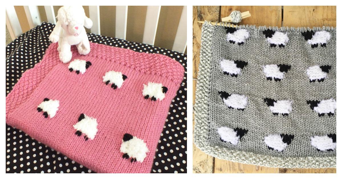 Sheep Baby Blanket Free Knitting Pattern
