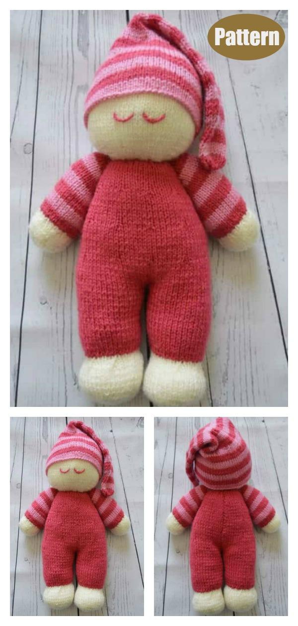 Sleepy Baby Doll Soft Toy Knitting Pattern