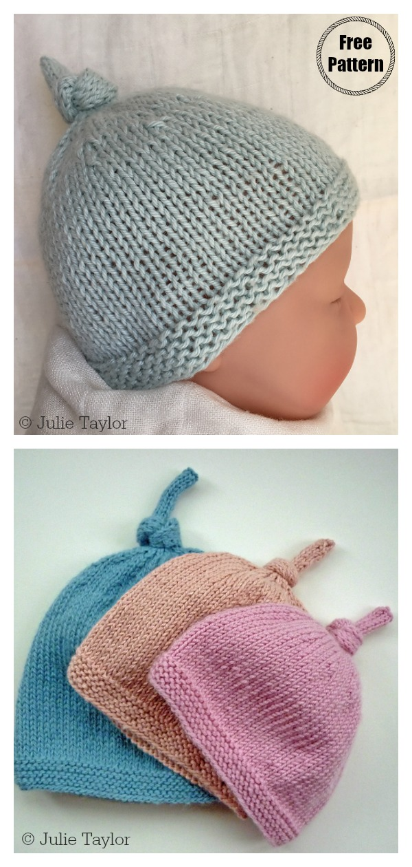 Top Knot Baby Hat Free Knitting Pattern
