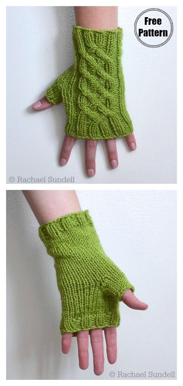 Celtic Knot Cable Fingerless Gloves Free Knitting Pattern