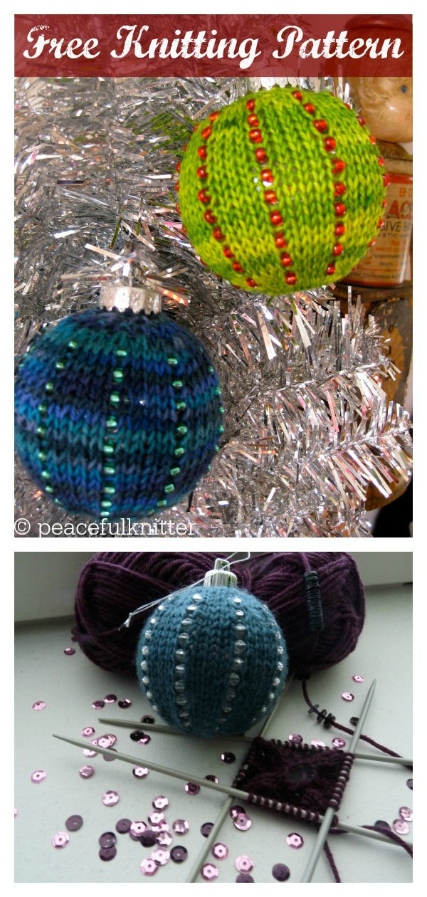 Christmas Ball Beaded Ornaments Free Knitting Pattern