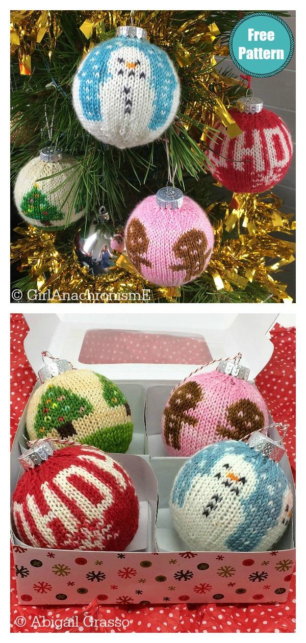 Christmas Ball Ornaments Free Knitting Pattern