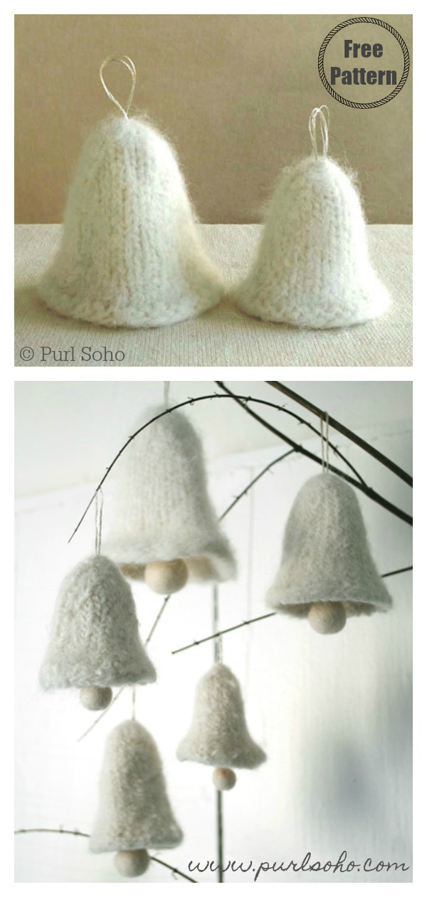 Christmas Felted Bell Ornament Free Knitting Pattern