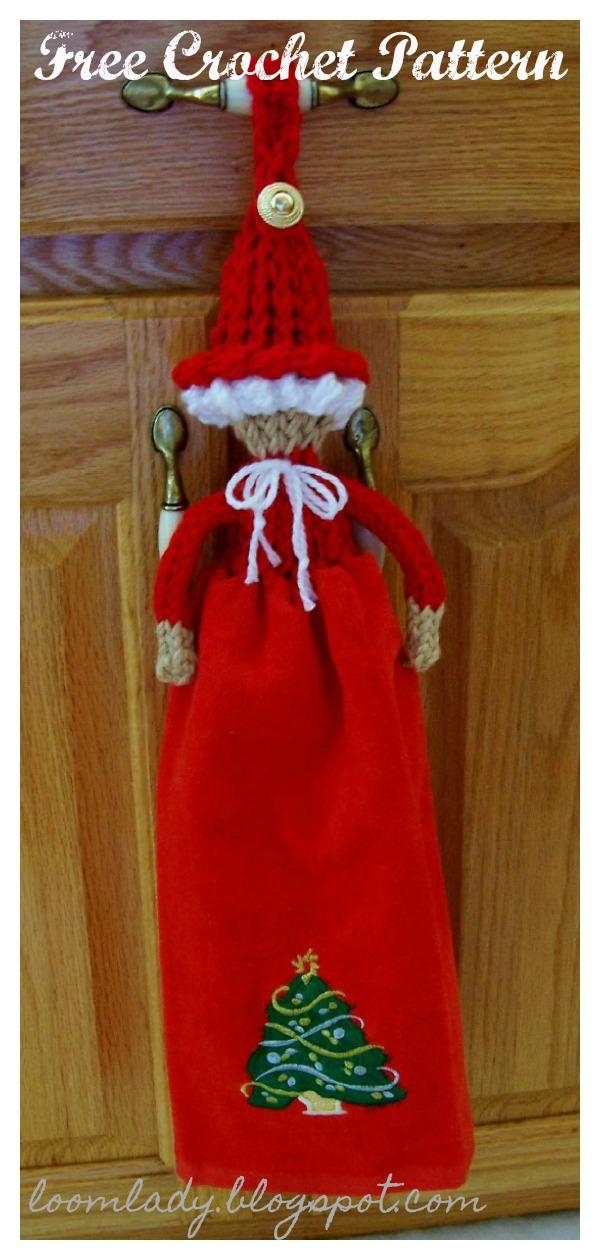 Christmas Ms. Santa Towel Topper Free Knitting Pattern