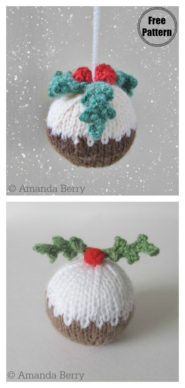 Christmas Pudding Bauble Ornaments Free Knitting Pattern