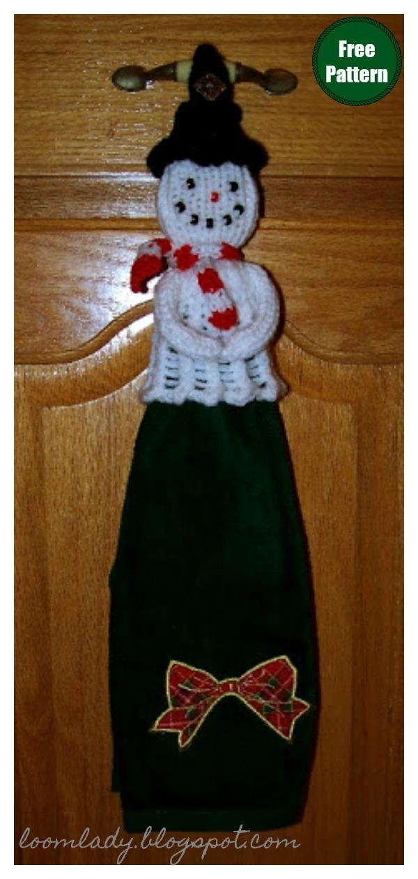 Christmas Snowman's Secret Towel Topper Free Knitting Pattern