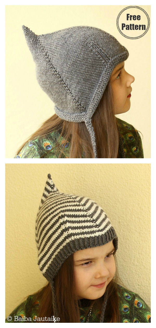 Comma Pixie Hat Free Knitting Pattern