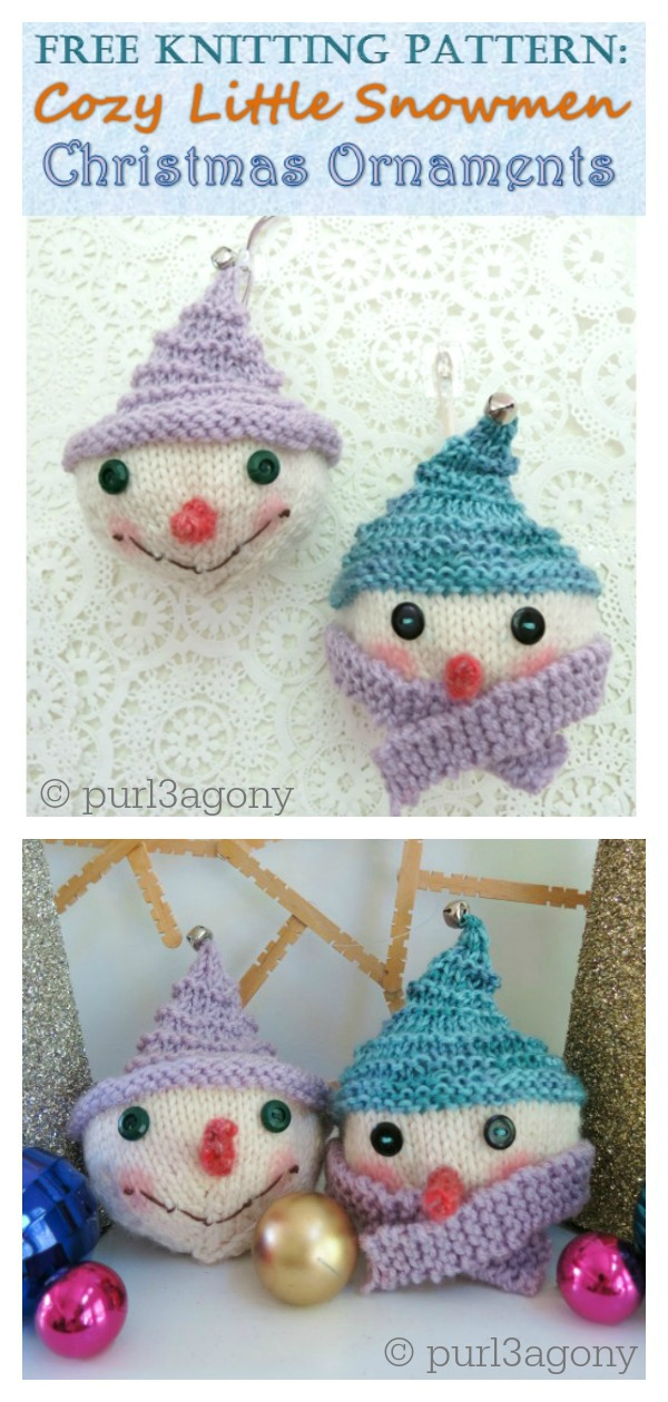 Cozy Snowman Christmas Ornaments Free Knitting Pattern