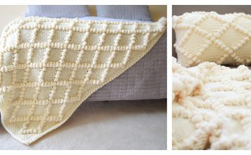 Diamond and Bobble Throw Free Knitting Pattern