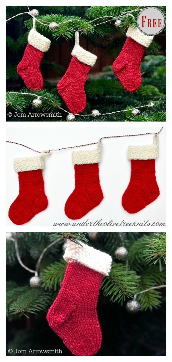 Mini Christmas Stocking Free Knitting Pattern and Video Tutorial