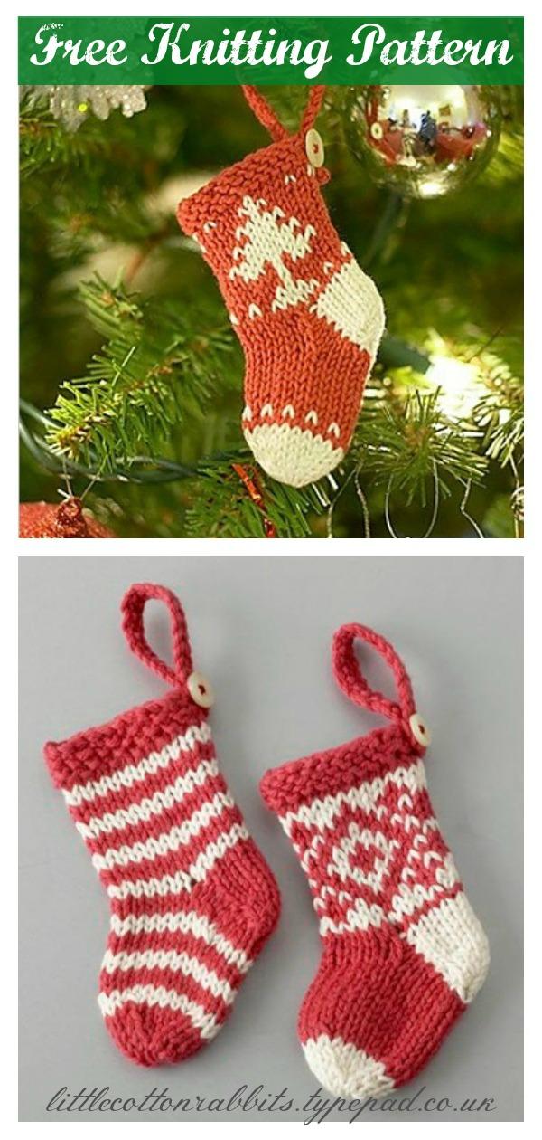 Mini Christmas Stocking Free Knitting Pattern