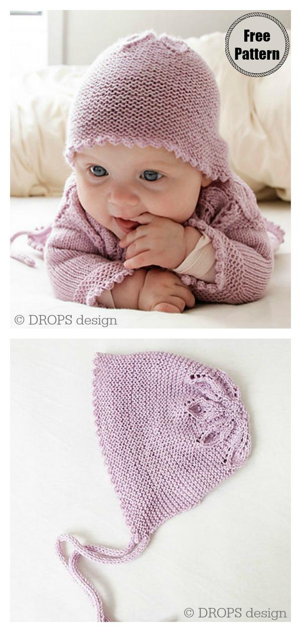 Pink Petals Baby Set Bonnet Hat Free Knitting Pattern