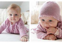 Pink Petals Baby Set Free Knitting Pattern