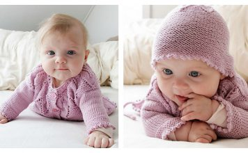 Pink Petals Baby Set Free Knitting Pattern