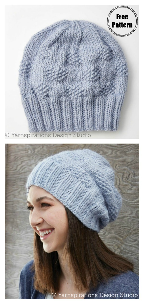 Polka Dot Beanie Hat Free Knitting Pattern