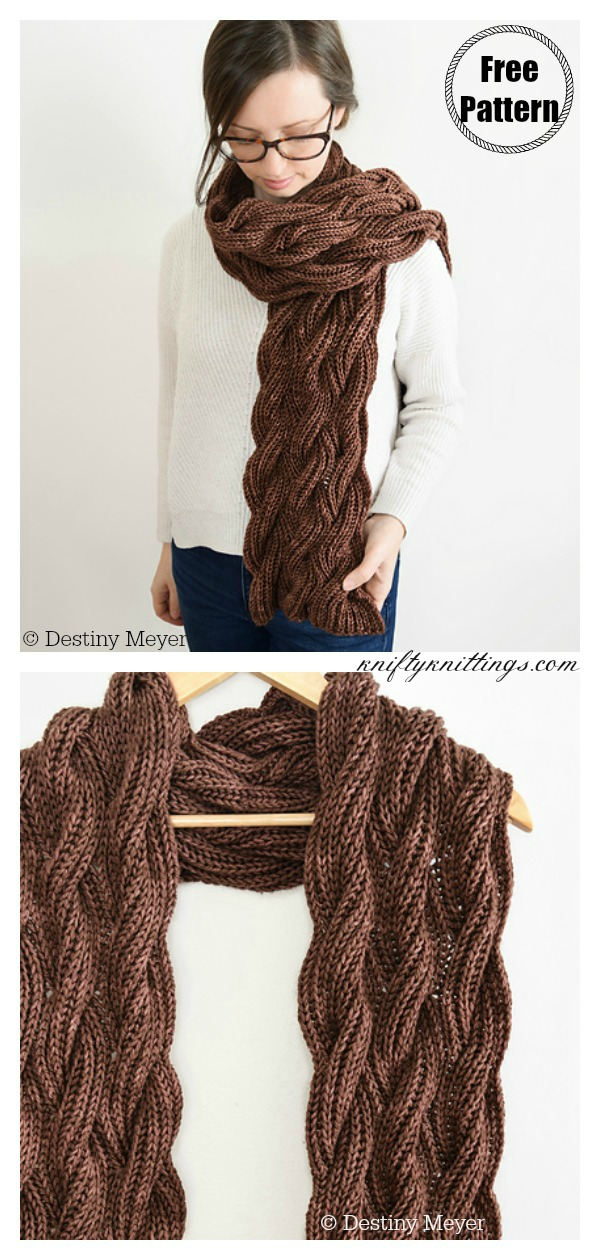 Reversible Cabled Scarf Free Knitting Pattern