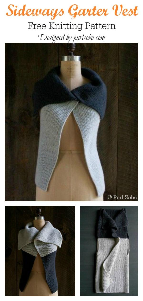 Sideways Garter Vest Free Knitting Pattern