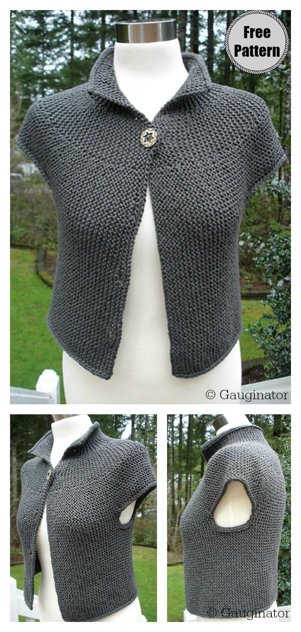 Simple Garter Stitch Vest Free Knitting Pattern