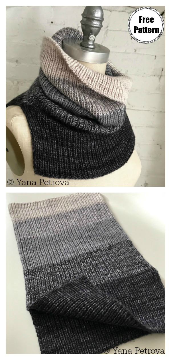 Simple Unisex Ribbed Cowl Free Knitting Pattern