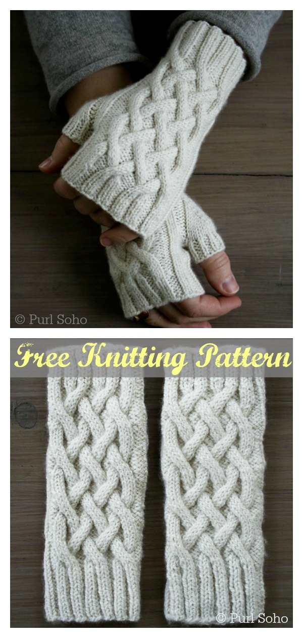 Traveling Cable Hand Warmers Celtic Cable Fingerless Gloves Free Knitting Pattern