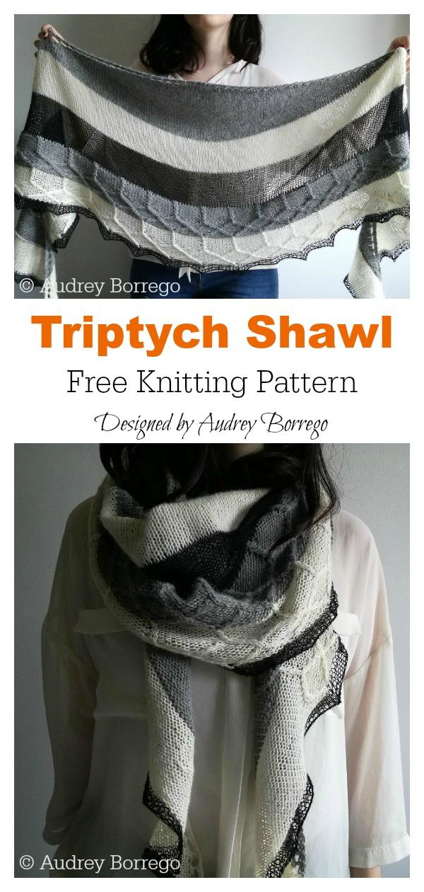 Triptych Crescent Shaped Shawl Free Knitting Pattern