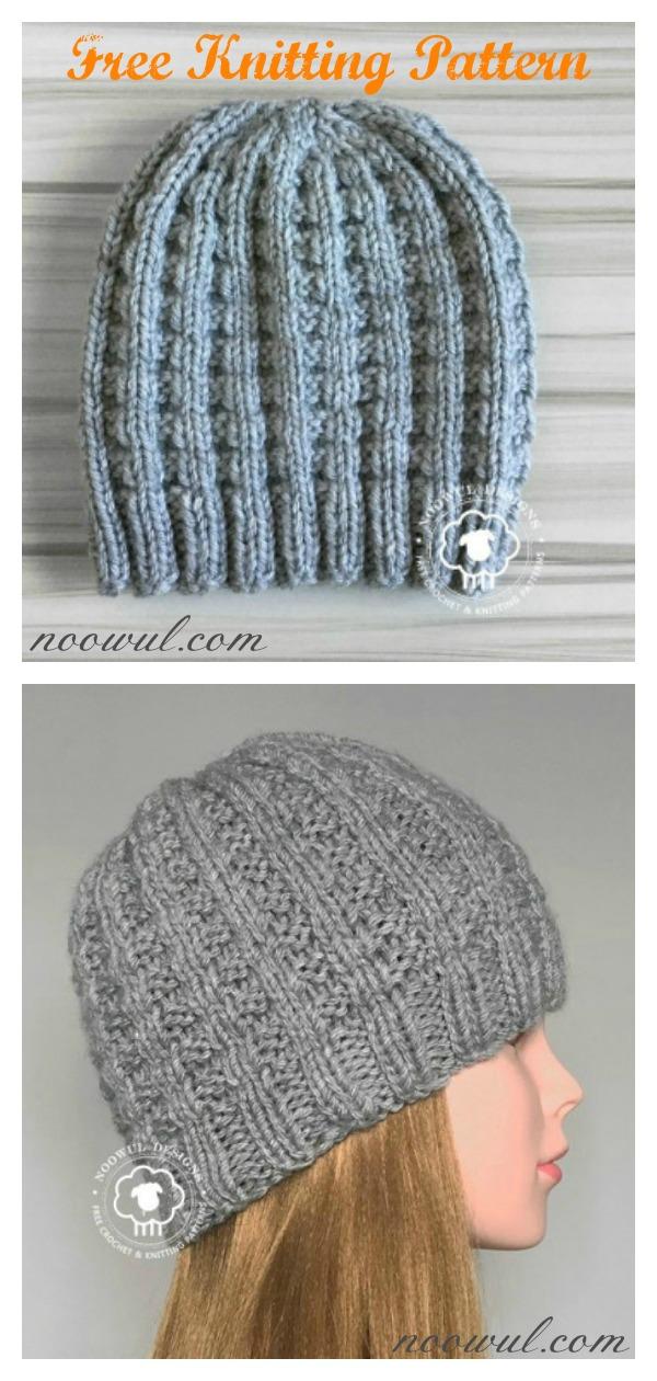 Waffle Stitch Kaza Hat Free Knitting Pattern