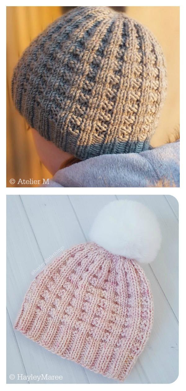 Waffle Stitch Miki Beanie Hat Free Knitting Pattern