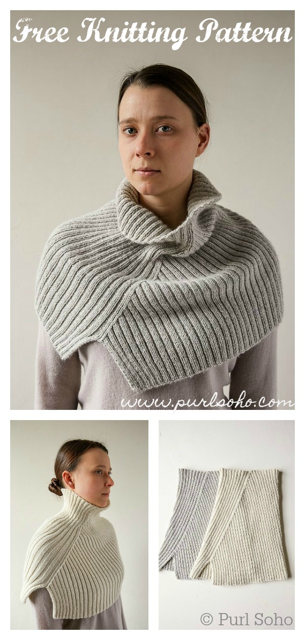 Asymmetrical Ribbed Cowl Free Knitting Pattern