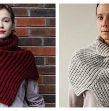 Asymmetrical Ribbed Cowl Free Knitting Pattern