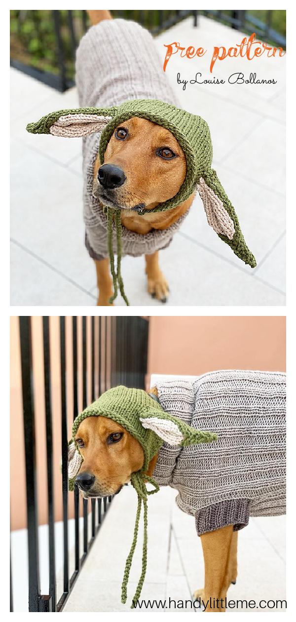 Baby Yoda Dog Sweater and Hat Free Knitting Pattern