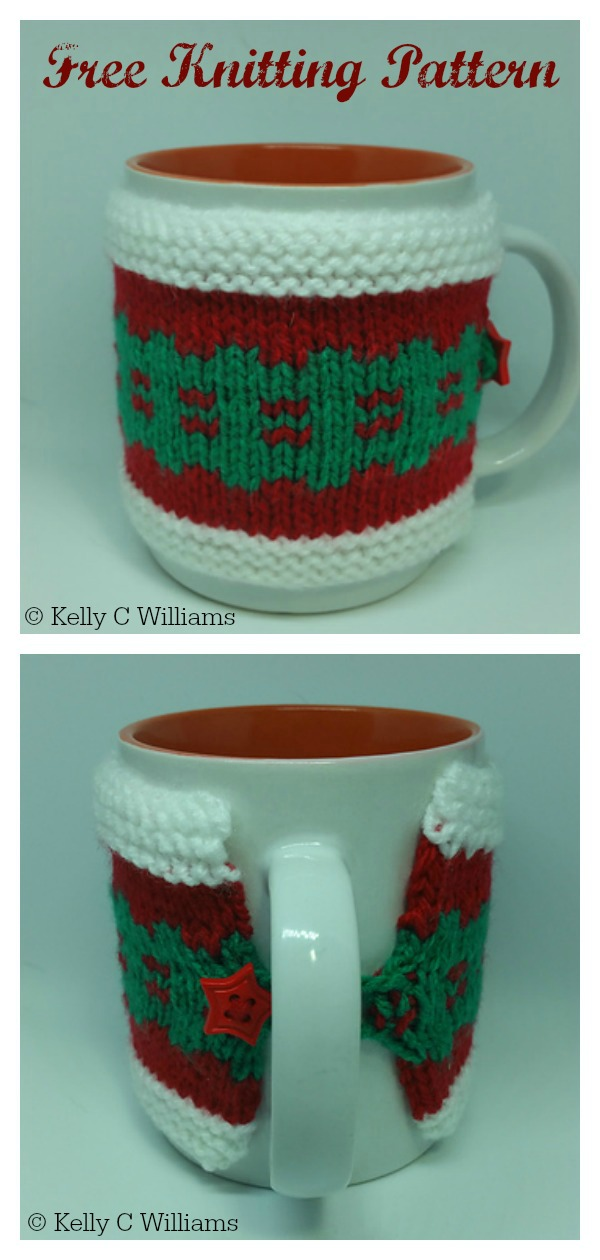 Christmas Cracker Mug Cozy Free Knitting Pattern