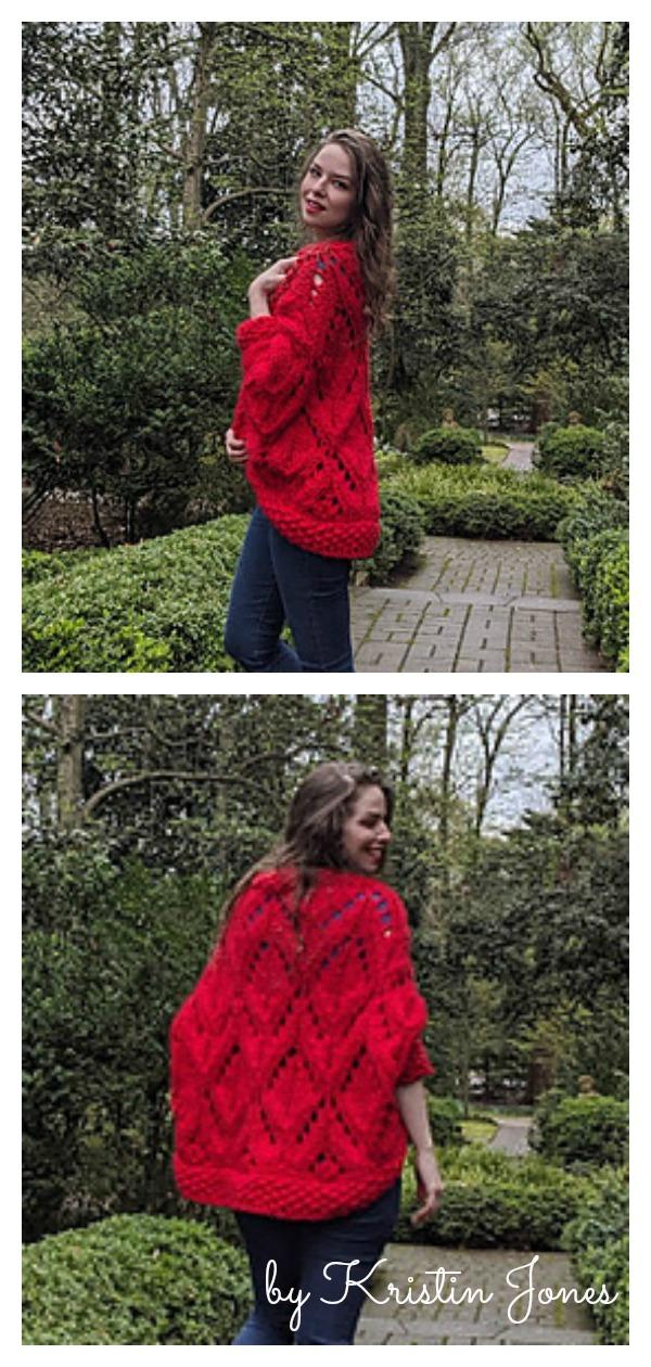 Diamond Cocoon Cardigan Free Knitting Pattern