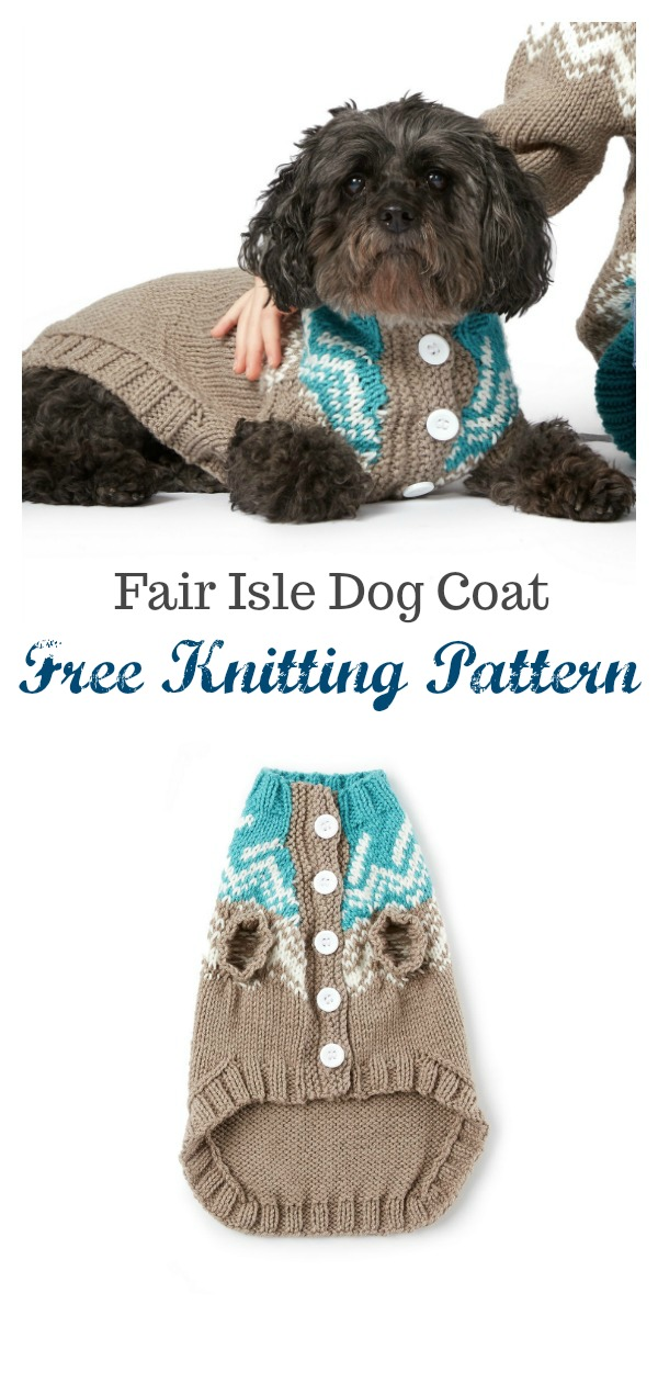 Fair Isle Dog Coat Free Knitting Pattern