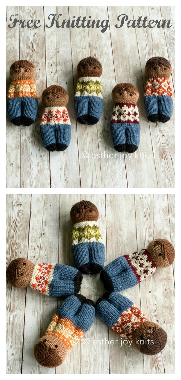 Fairisle Friends Comfort Dolls Free Knitting Pattern