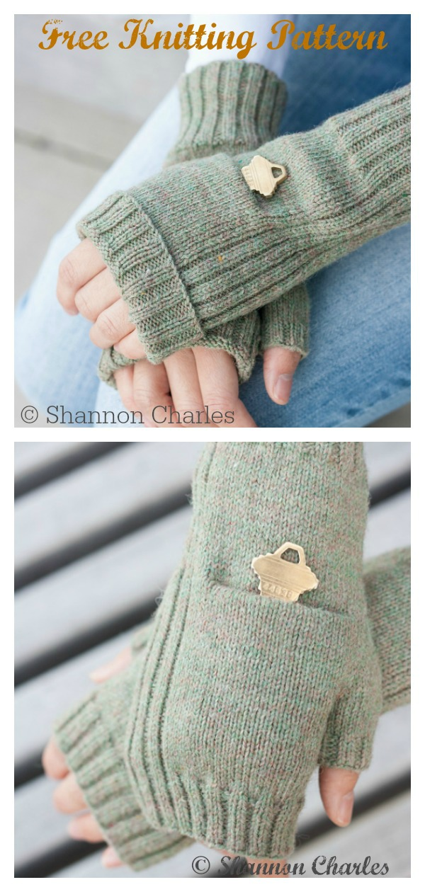 Fingerless Pocket Mitts Free Knitting Pattern