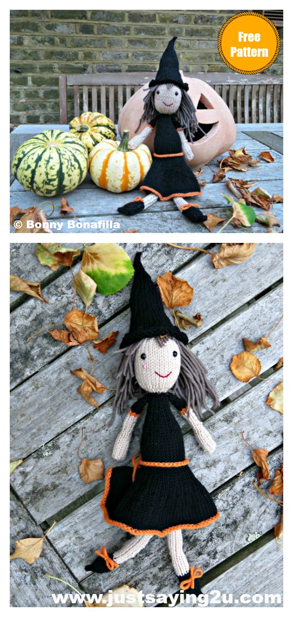 Halloween Witch Doll Free Knitting Pattern