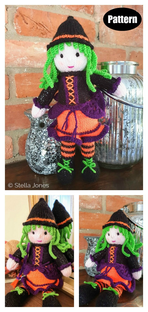 Halloween Witch Doll Knitting Pattern